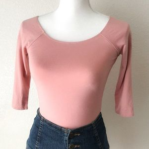 Forever 21 Blush Pink 3/4 Sleeves Bodysuit Top S